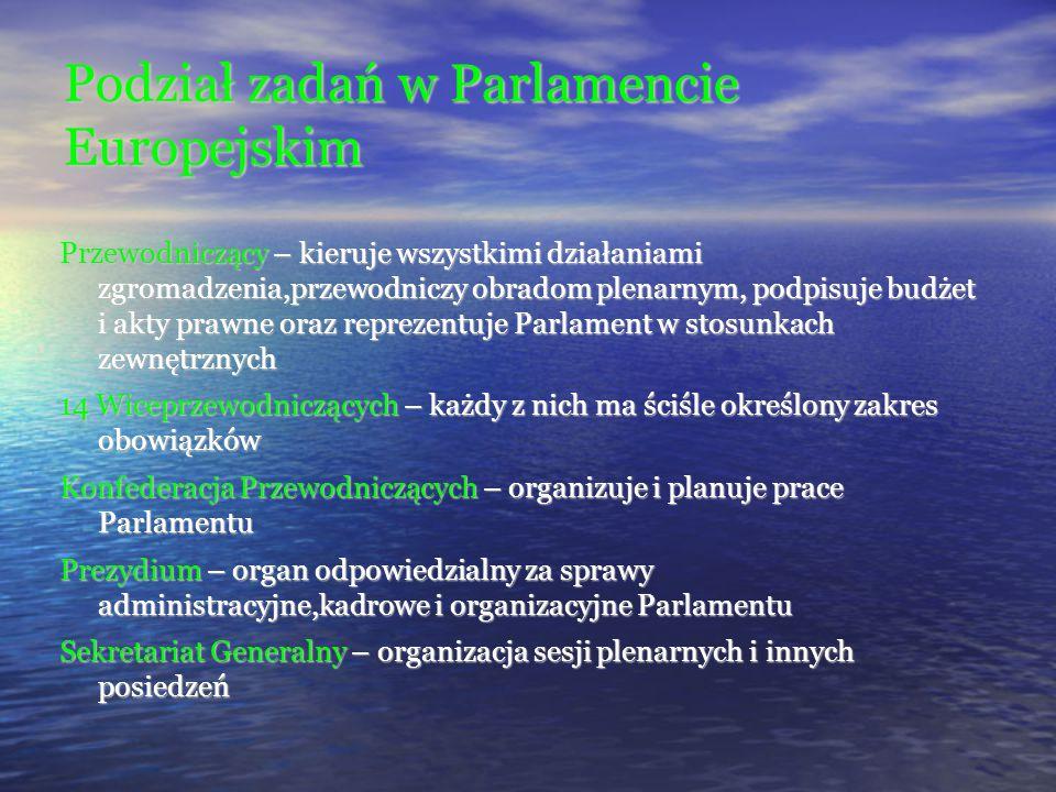 Podział zadań w Parlamencie Europejskim Przewodniczący – kieruje wszystkimi działaniami zgromadzenia,przewodniczy obradom plenarnym, podpisuje budżet