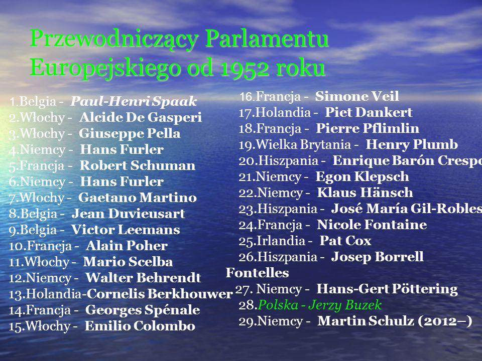Przewodniczący Parlamentu Europejskiego od 1952 roku 1. Belgia - Paul-Henri Spaak 2.Włochy - Alcide De Gasperi 3.Włochy - Giuseppe Pella 4.Niemcy - Ha