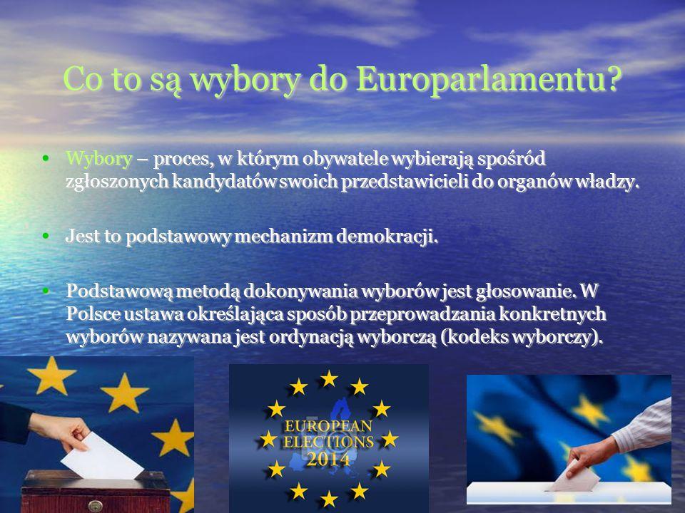 Co to są wybory do Europarlamentu? Wybory – proces, w którym obywatele wybierają spośród zgłoszonych kandydatów swoich przedstawicieli do organów wład