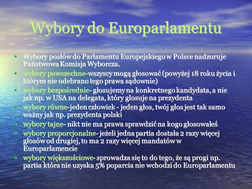 Wybory do Europarlamentu Wybory posłów do Parlamentu Europejskiego w Polsce nadzoruje Państwowa Komisja Wyborcza. Wybory posłów do Parlamentu Europejs