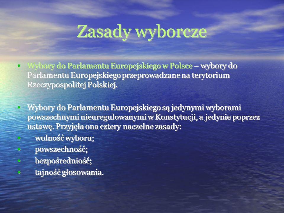 Zasady wyborcze Wybory do Parlamentu Europejskiego w Polsce – wybory do Parlamentu Europejskiego przeprowadzane na terytorium Rzeczypospolitej Polskie