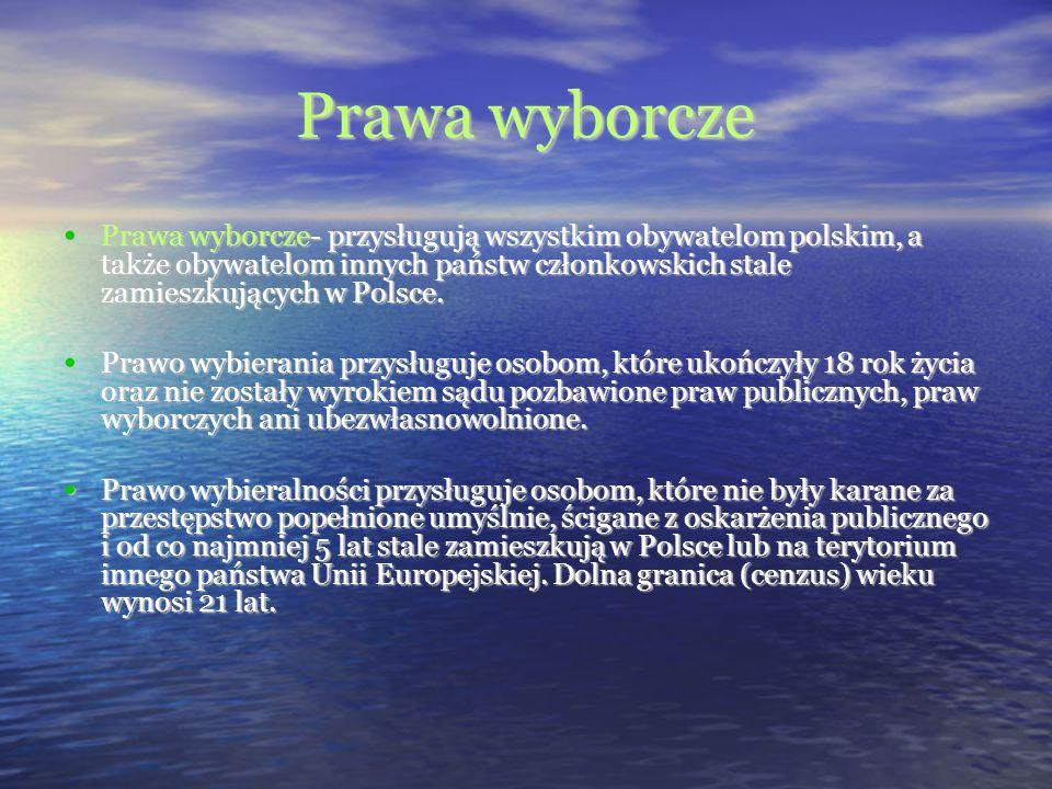 Prawa wyborcze Prawa wyborcze- przysługują wszystkim obywatelom polskim, a także obywatelom innych państw członkowskich stale zamieszkujących w Polsce