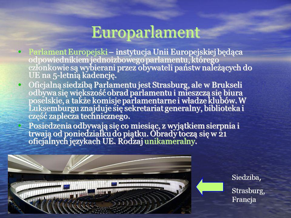 Europarlament Parlament Europejski – instytucja Unii Europejskiej będąca odpowiednikiem jednoizbowego parlamentu, którego członkowie są wybierani prze