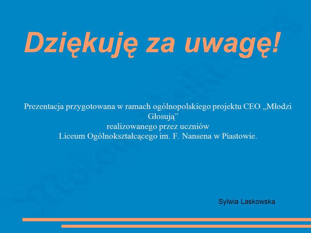 Dziękuję za uwagę! Prezentacja przygotowana w ramach ogólnopolskiego projektu CEO Młodzi Głosują realizowanego przez uczniów Liceum Ogólnokształcącego
