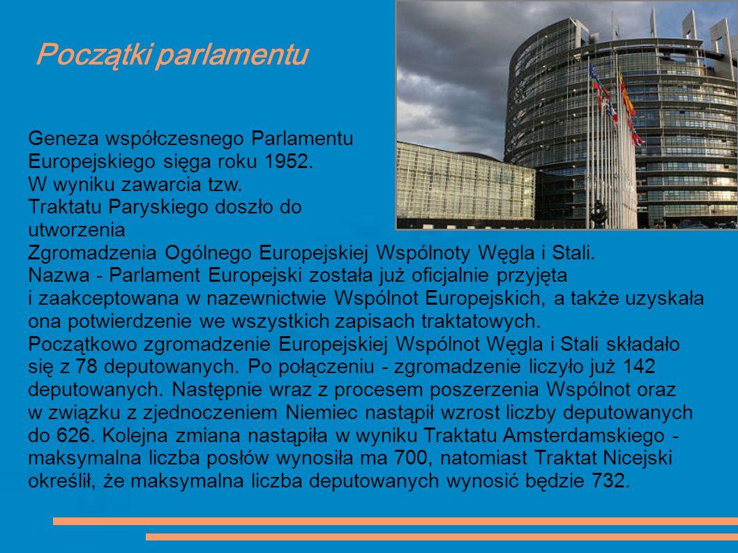 Początki parlamentu Geneza współczesnego Parlamentu Europejskiego sięga roku 1952. W wyniku zawarcia tzw. Traktatu Paryskiego doszło do utworzenia Zgr