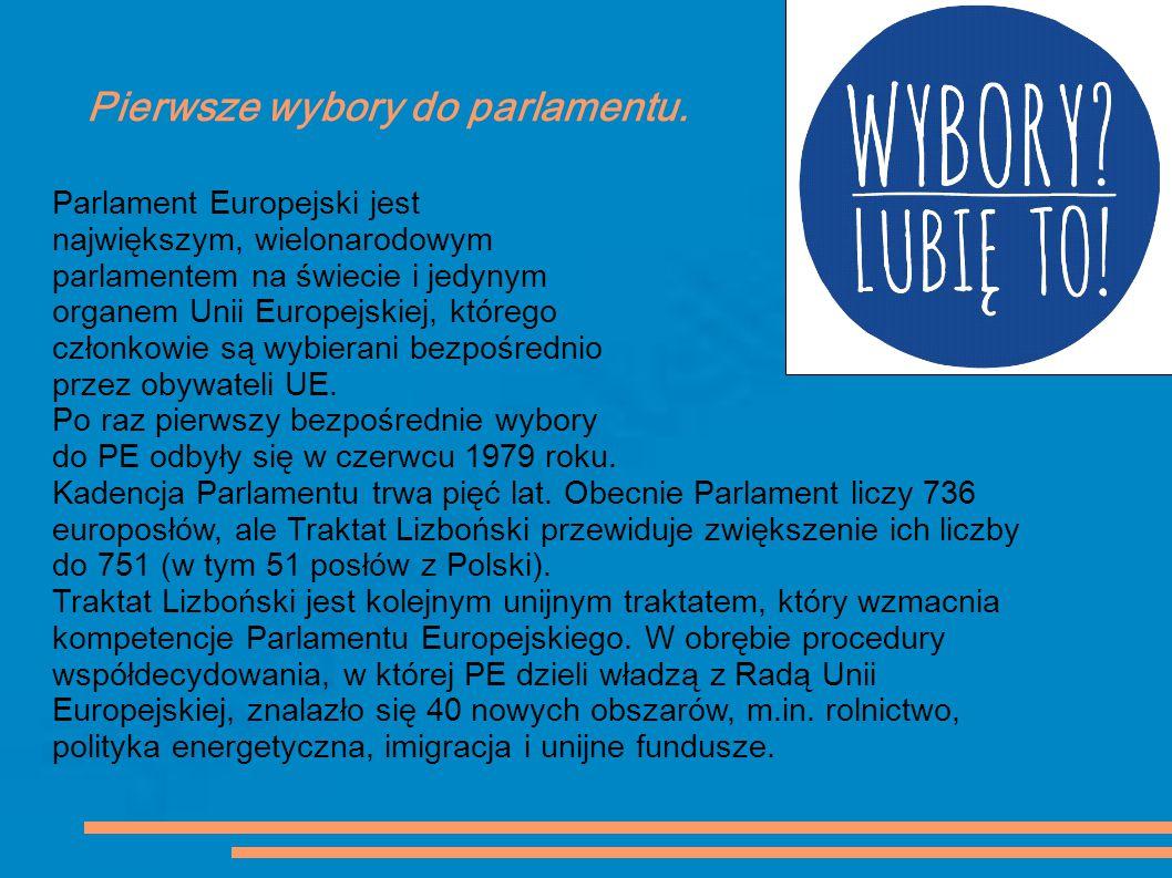 Pierwsze wybory do parlamentu. Parlament Europejski jest największym, wielonarodowym parlamentem na świecie i jedynym organem Unii Europejskiej, które