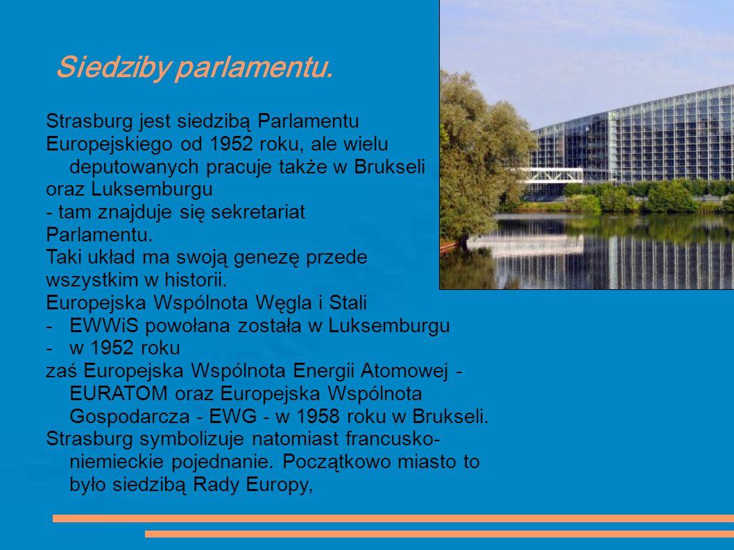 Siedziby parlamentu. Strasburg jest siedzibą Parlamentu Europejskiego od 1952 roku, ale wielu deputowanych pracuje także w Brukseli oraz Luksemburgu -