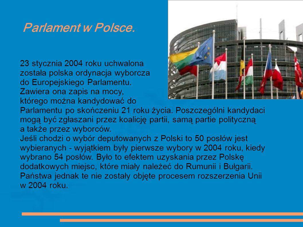 Parlament w Polsce. 23 stycznia 2004 roku uchwalona została polska ordynacja wyborcza do Europejskiego Parlamentu. Zawiera ona zapis na mocy, którego