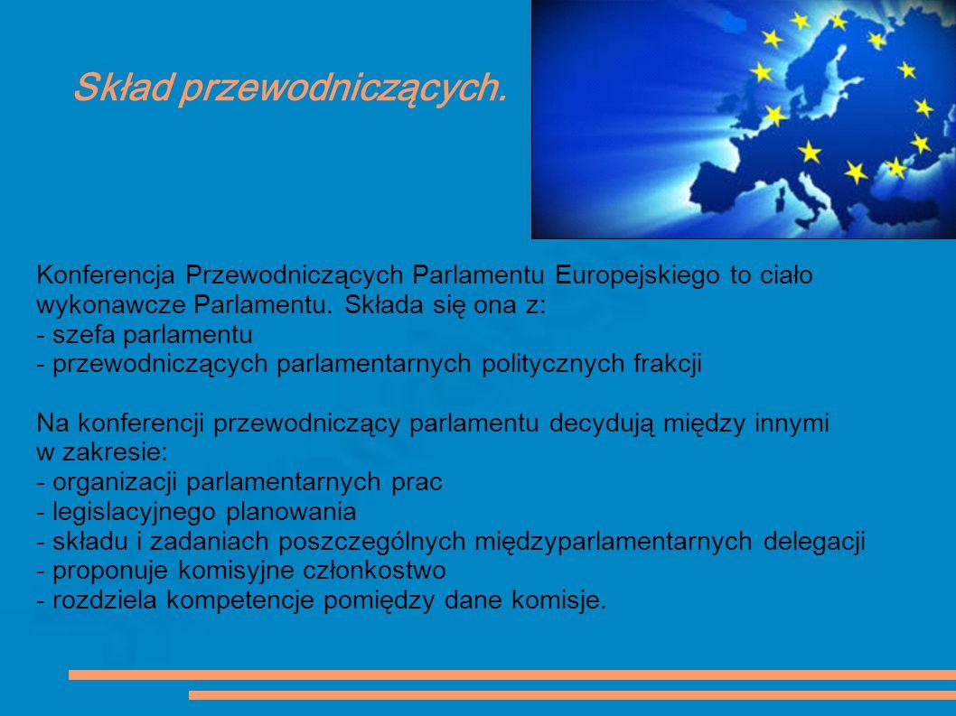 Skład przewodniczących. Konferencja Przewodniczących Parlamentu Europejskiego to ciało wykonawcze Parlamentu. Składa się ona z: - szefa parlamentu - p