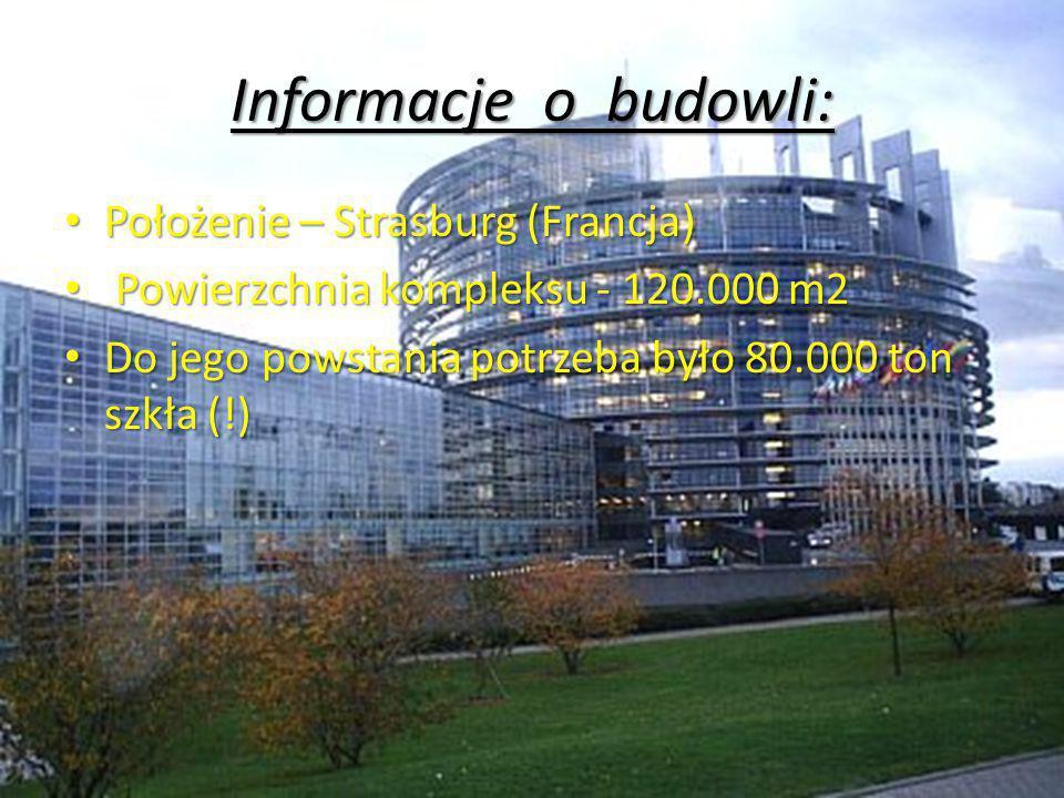 Informacje o budowli: Położenie – Strasburg (Francja) Położenie – Strasburg (Francja) Powierzchnia kompleksu - 120.000 m2 Powierzchnia kompleksu - 120.000 m2 Do jego powstania potrzeba było 80.000 ton szkła (!) Do jego powstania potrzeba było 80.000 ton szkła (!)