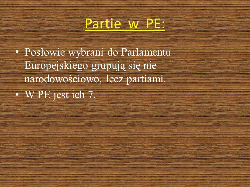 Partie w PE: Posłowie wybrani do Parlamentu Europejskiego grupują się nie narodowościowo, lecz partiami.