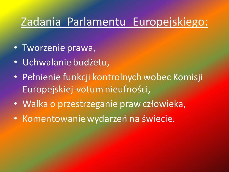 Zadania Parlamentu Europejskiego: Tworzenie prawa, Uchwalanie budżetu, Pełnienie funkcji kontrolnych wobec Komisji Europejskiej-votum nieufności, Walka o przestrzeganie praw człowieka, Komentowanie wydarzeń na świecie.