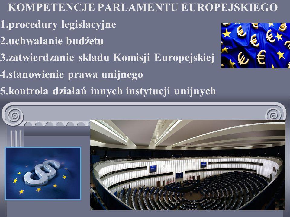 KOMPETENCJE PARLAMENTU EUROPEJSKIEGO 1.procedury legislacyjne 2.uchwalanie budżetu 3.zatwierdzanie składu Komisji Europejskiej 4.stanowienie prawa unijnego 5.kontrola działań innych instytucji unijnych