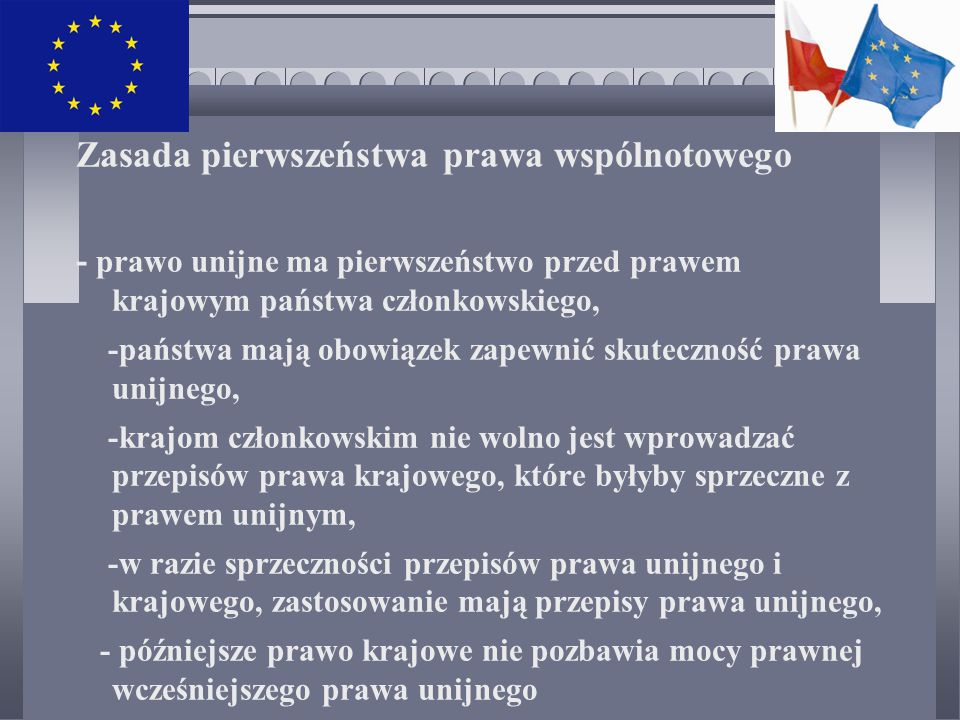 Zasada pierwszeństwa prawa wspólnotowego - prawo unijne ma pierwszeństwo przed prawem krajowym państwa członkowskiego, -państwa mają obowiązek zapewnić skuteczność prawa unijnego, -krajom członkowskim nie wolno jest wprowadzać przepisów prawa krajowego, które byłyby sprzeczne z prawem unijnym, -w razie sprzeczności przepisów prawa unijnego i krajowego, zastosowanie mają przepisy prawa unijnego, - późniejsze prawo krajowe nie pozbawia mocy prawnej wcześniejszego prawa unijnego