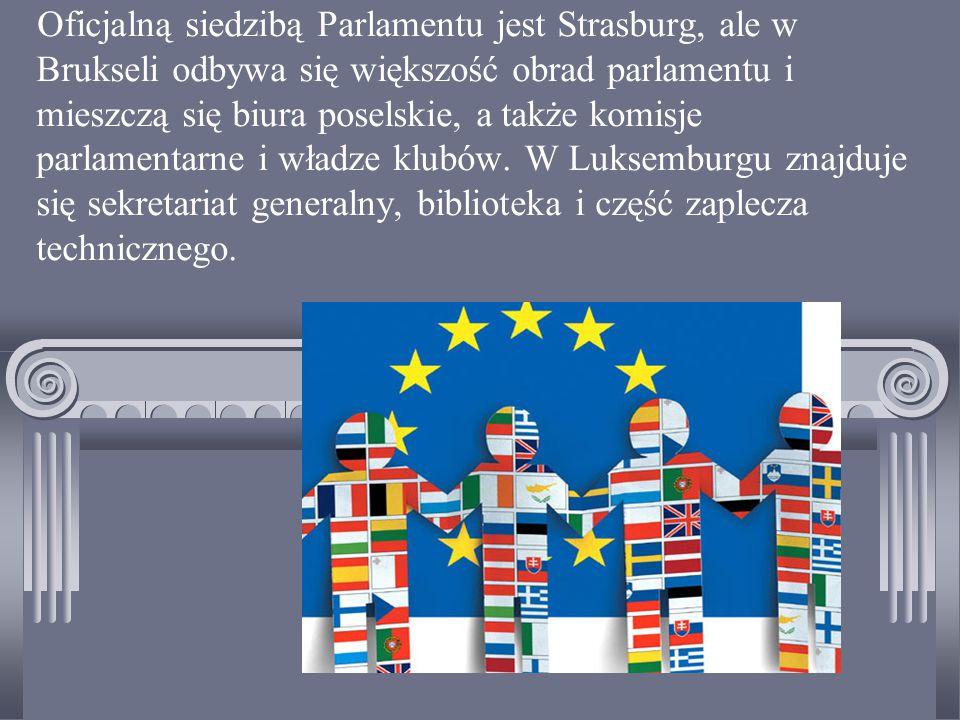 Oficjalną siedzibą Parlamentu jest Strasburg, ale w Brukseli odbywa się większość obrad parlamentu i mieszczą się biura poselskie, a także komisje parlamentarne i władze klubów.