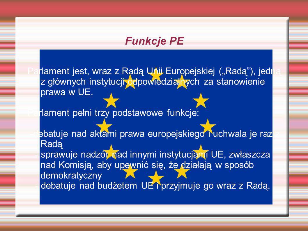 Funkcje PE Parlament jest, wraz z Radą Unii Europejskiej (Radą), jedną z głównych instytucji odpowiedzialnych za stanowienie prawa w UE. Parlament peł