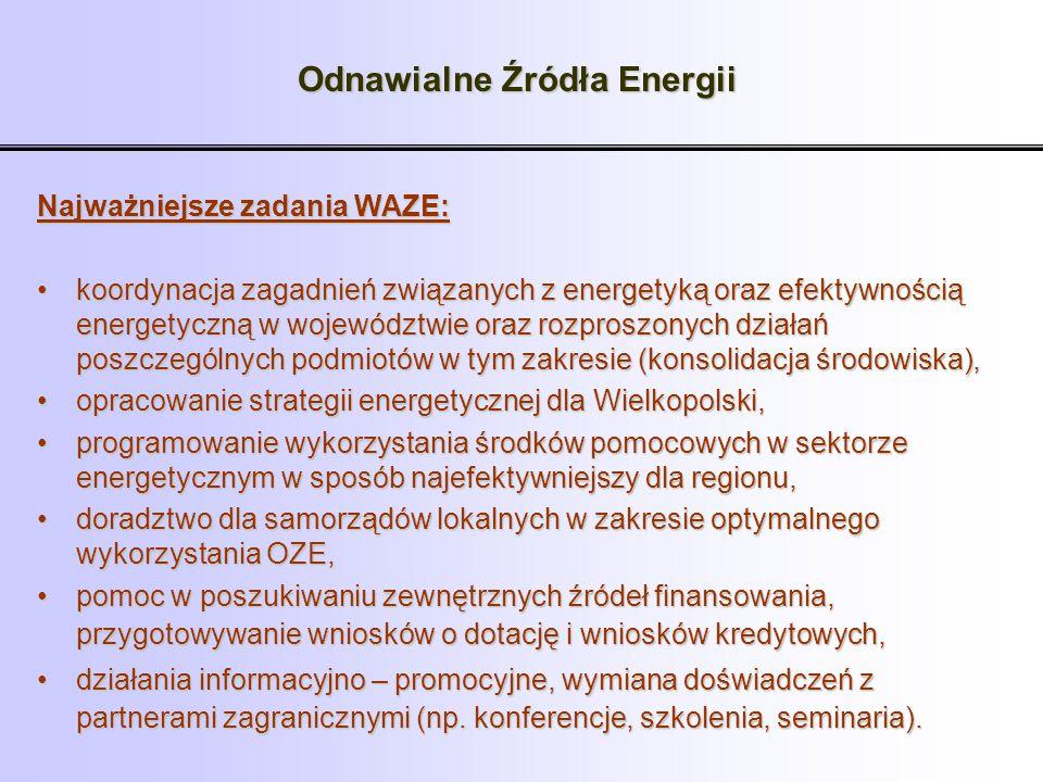 Odnawialne Źródła Energii Najważniejsze zadania WAZE: koordynacja zagadnień związanych z energetyką oraz efektywnością energetyczną w województwie ora