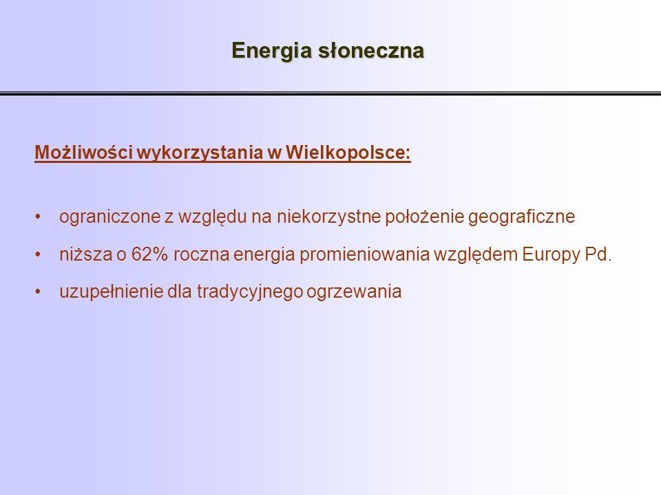 Energia słoneczna Możliwości wykorzystania w Wielkopolsce: ograniczone z względu na niekorzystne położenie geograficzne niższa o 62% roczna energia pr