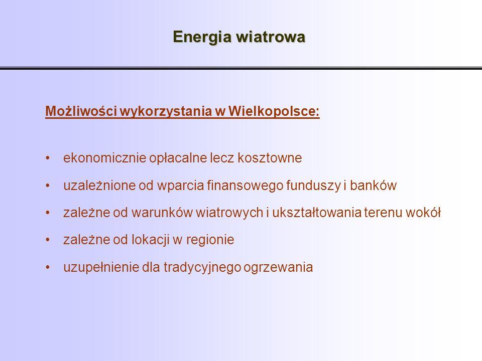 Energia wiatrowa Możliwości wykorzystania w Wielkopolsce: ekonomicznie opłacalne lecz kosztowne uzależnione od wparcia finansowego funduszy i banków z