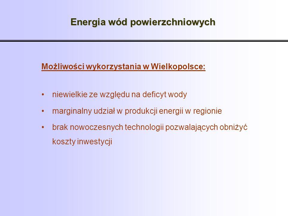 Energia wód powierzchniowych Możliwości wykorzystania w Wielkopolsce: niewielkie ze względu na deficyt wody marginalny udział w produkcji energii w re