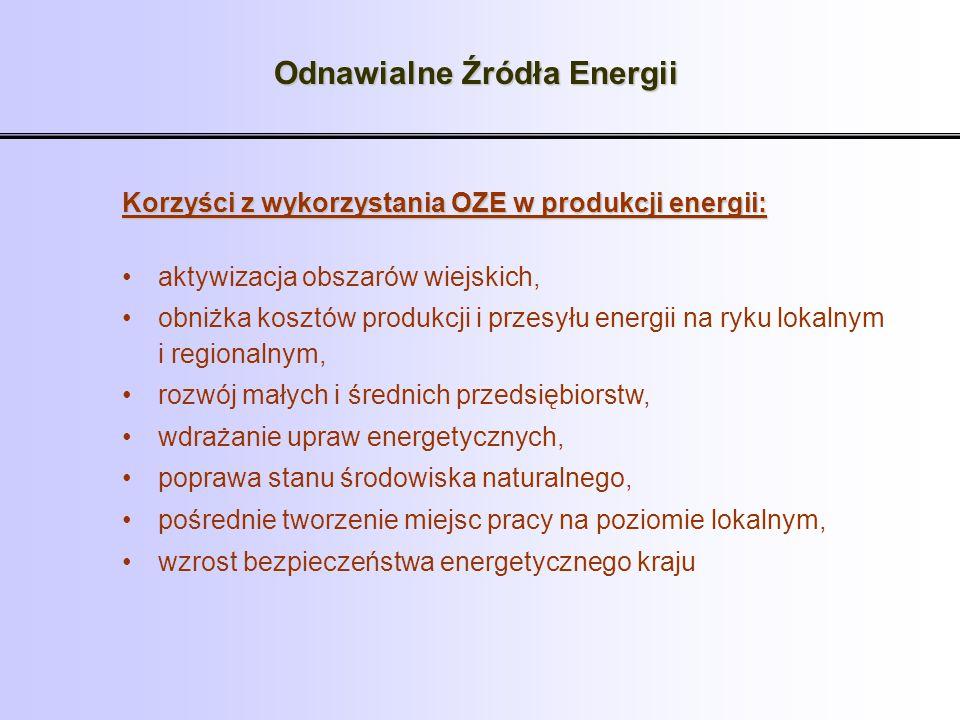Odnawialne Źródła Energii Korzyści z wykorzystania OZE w produkcji energii: aktywizacja obszarów wiejskich, obniżka kosztów produkcji i przesyłu energ