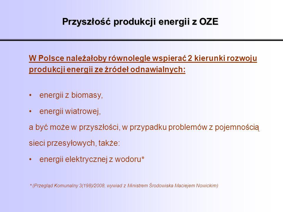 Przyszłość produkcji energii z OZE W Polsce należałoby równolegle wspierać 2 kierunki rozwoju produkcji energii ze źródeł odnawialnych: energii z biom