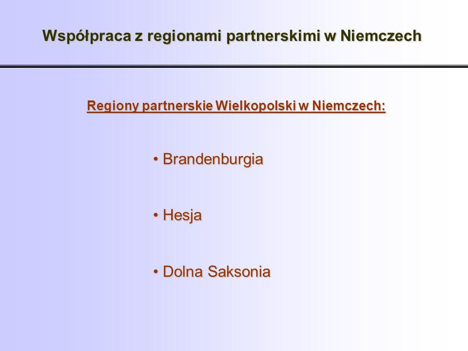 Współpraca z regionami partnerskimi w Niemczech Brandenburgia Brandenburgia Hesja Hesja Dolna Saksonia Dolna Saksonia Regiony partnerskie Wielkopolski