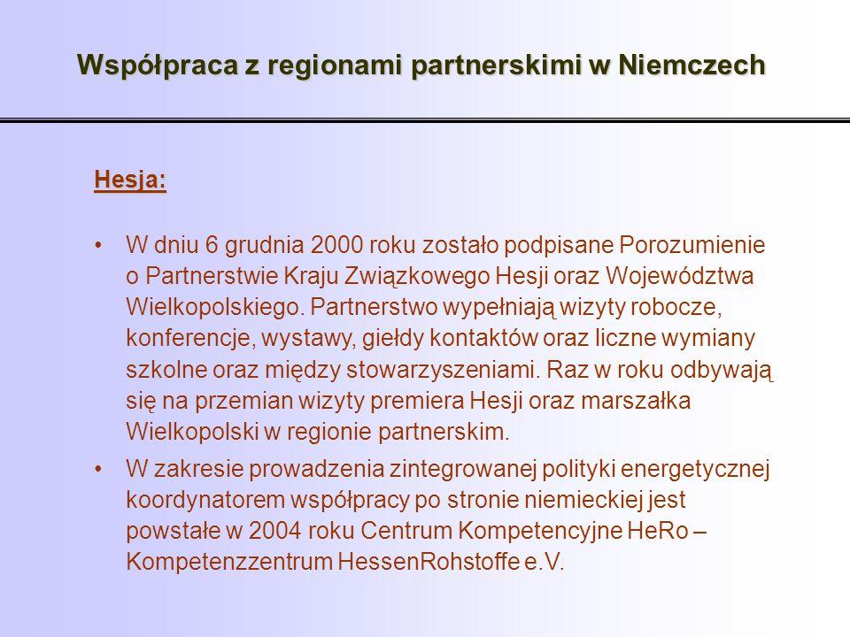Współpraca z regionami partnerskimi w Niemczech Hesja: W dniu 6 grudnia 2000 roku zostało podpisane Porozumienie o Partnerstwie Kraju Związkowego Hesj