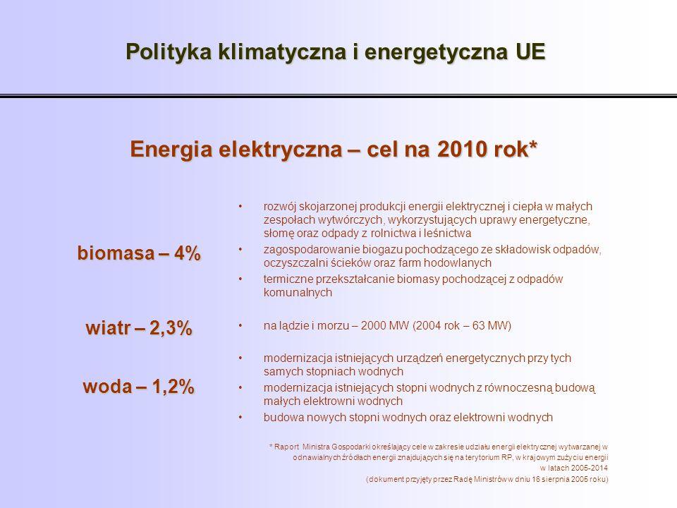 Polityka klimatyczna i energetyczna UE Energia elektryczna – cel na 2010 rok* rozwój skojarzonej produkcji energii elektrycznej i ciepła w małych zesp