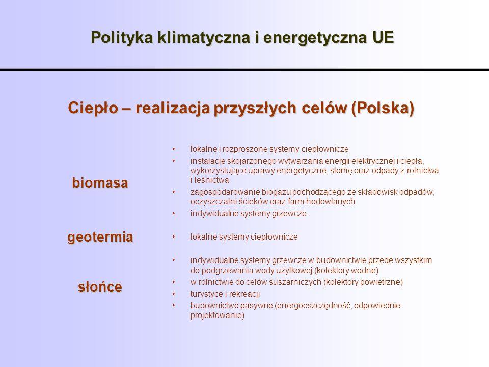 Polityka klimatyczna i energetyczna UE Ciepło – realizacja przyszłych celów (Polska) lokalne i rozproszone systemy ciepłownicze instalacje skojarzoneg