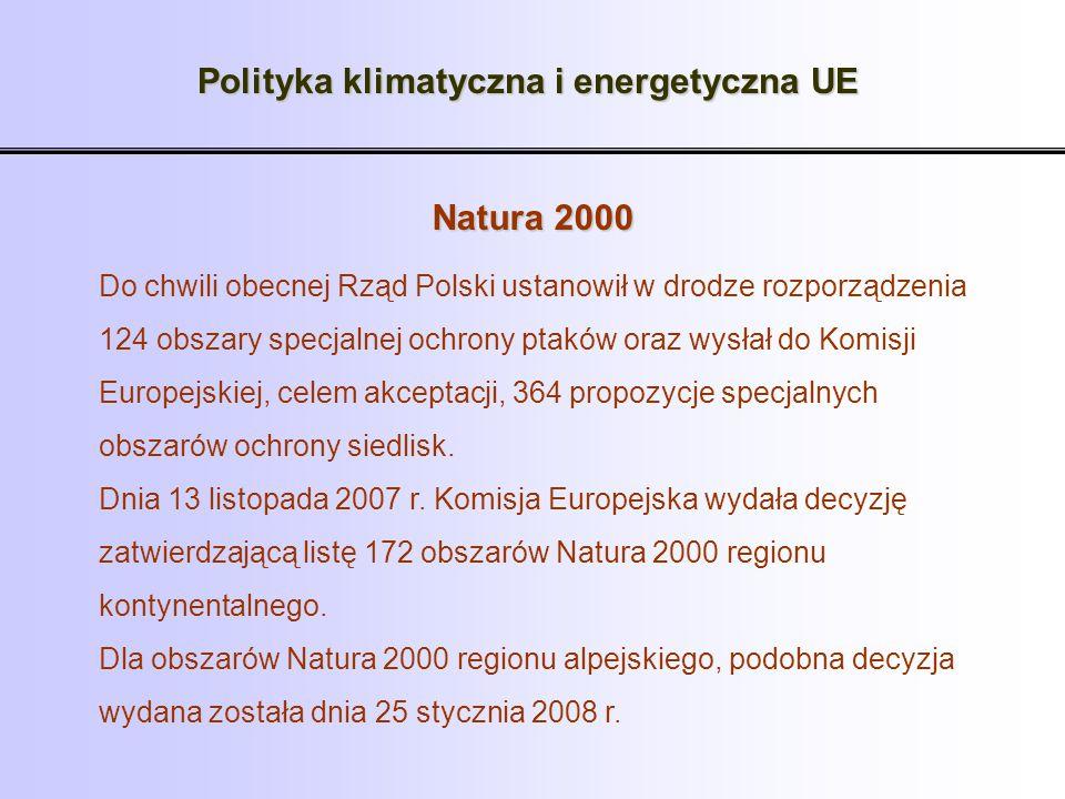 Polityka klimatyczna i energetyczna UE Natura 2000 Do chwili obecnej Rząd Polski ustanowił w drodze rozporządzenia 124 obszary specjalnej ochrony ptak