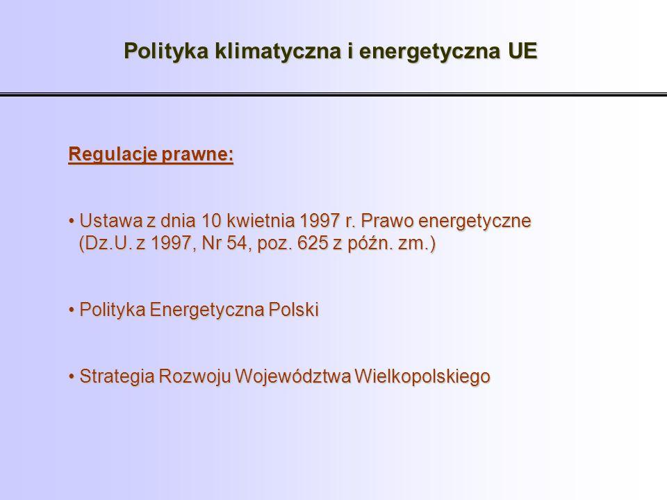 Polityka klimatyczna i energetyczna UE Regulacje prawne: Ustawa z dnia 10 kwietnia 1997 r. Prawo energetyczne (Dz.U. z 1997, Nr 54, poz. 625 z późn. z