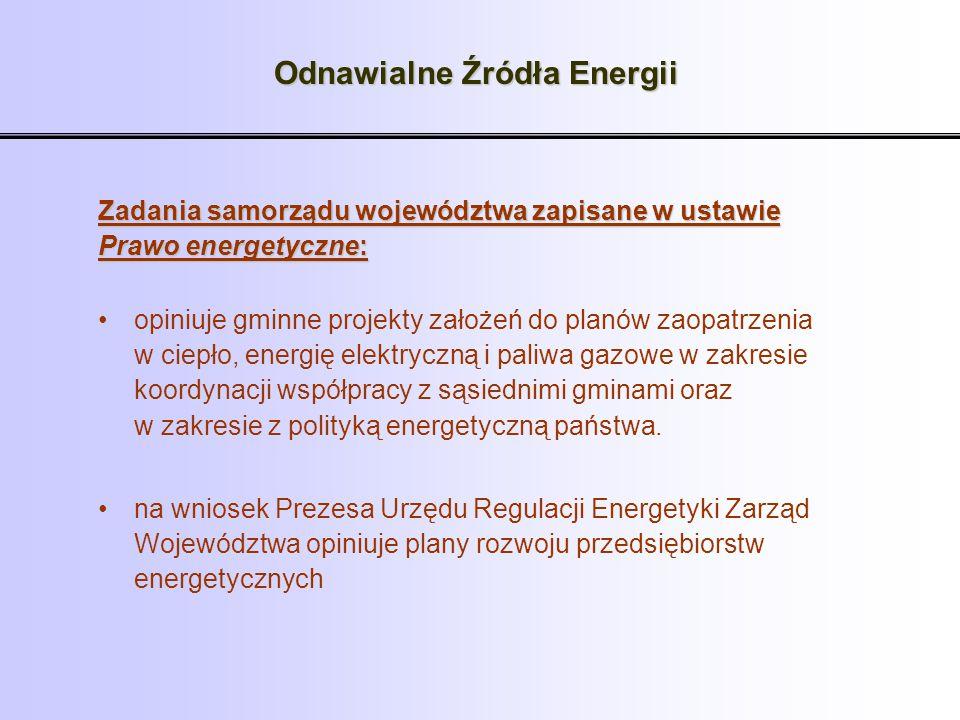 Odnawialne Źródła Energii Zadania samorządu województwa zapisane w ustawie Prawo energetyczne: opiniuje gminne projekty założeń do planów zaopatrzenia