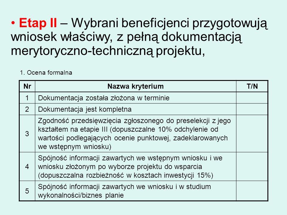 Etap II – Wybrani beneficjenci przygotowują wniosek właściwy, z pełną dokumentacją merytoryczno-techniczną projektu, 1. Ocena formalna NrNazwa kryteri