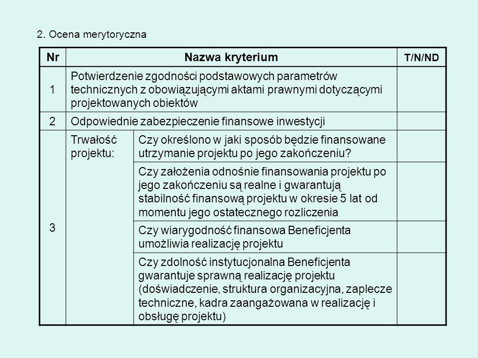 NrNazwa kryterium T/N/ND 1 Potwierdzenie zgodności podstawowych parametrów technicznych z obowiązującymi aktami prawnymi dotyczącymi projektowanych ob