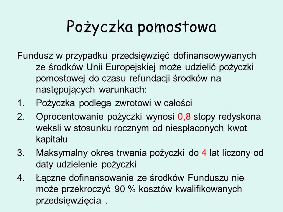 Pożyczka pomostowa Fundusz w przypadku przedsięwzięć dofinansowywanych ze środków Unii Europejskiej może udzielić pożyczki pomostowej do czasu refunda