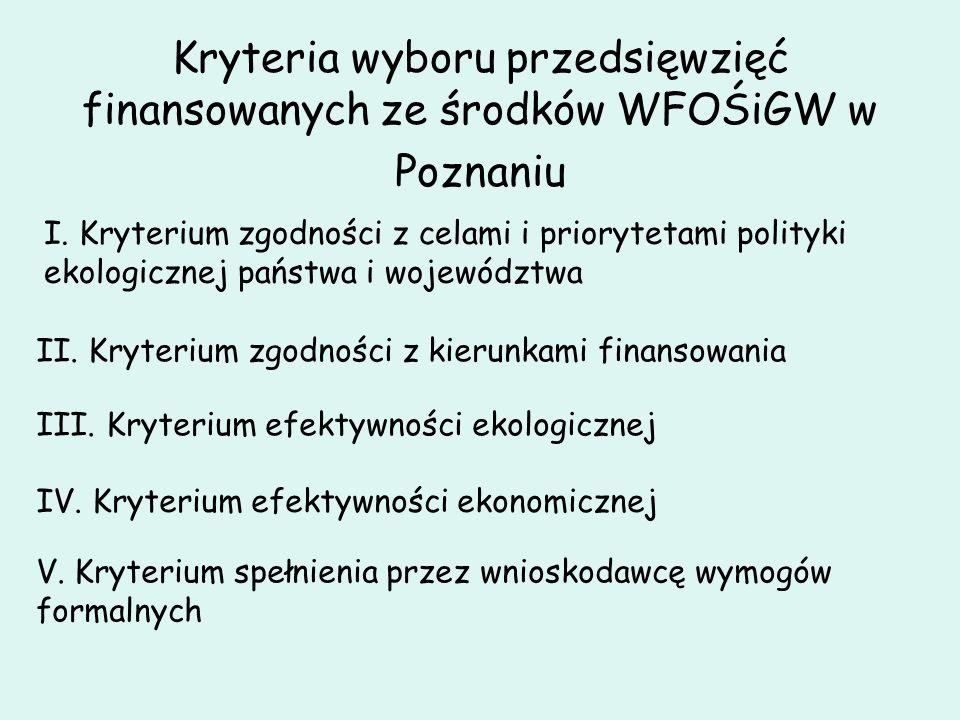 Kryteria wyboru przedsięwzięć finansowanych ze środków WFOŚiGW w Poznaniu I. Kryterium zgodności z celami i priorytetami polityki ekologicznej państwa