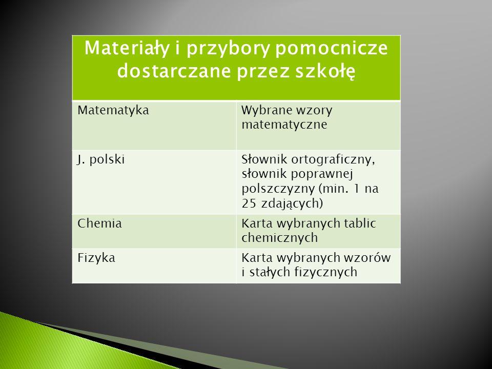Materiały i przybory pomocnicze dostarczane przez szkołę MatematykaWybrane wzory matematyczne J. polskiSłownik ortograficzny, słownik poprawnej polszc