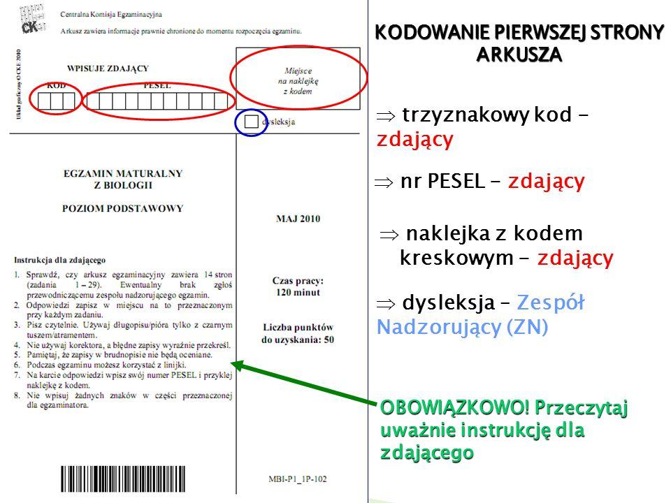 KODOWANIE PIERWSZEJ STRONY ARKUSZA trzyznakowy kod - zdający nr PESEL - zdający naklejka z kodem kreskowym - zdający dysleksja – Zespół Nadzorujący (Z