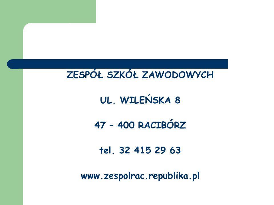 ZESPÓŁ SZKÓŁ ZAWODOWYCH UL. WILEŃSKA 8 47 – 400 RACIBÓRZ tel. 32 415 29 63 www.zespolrac.republika.pl