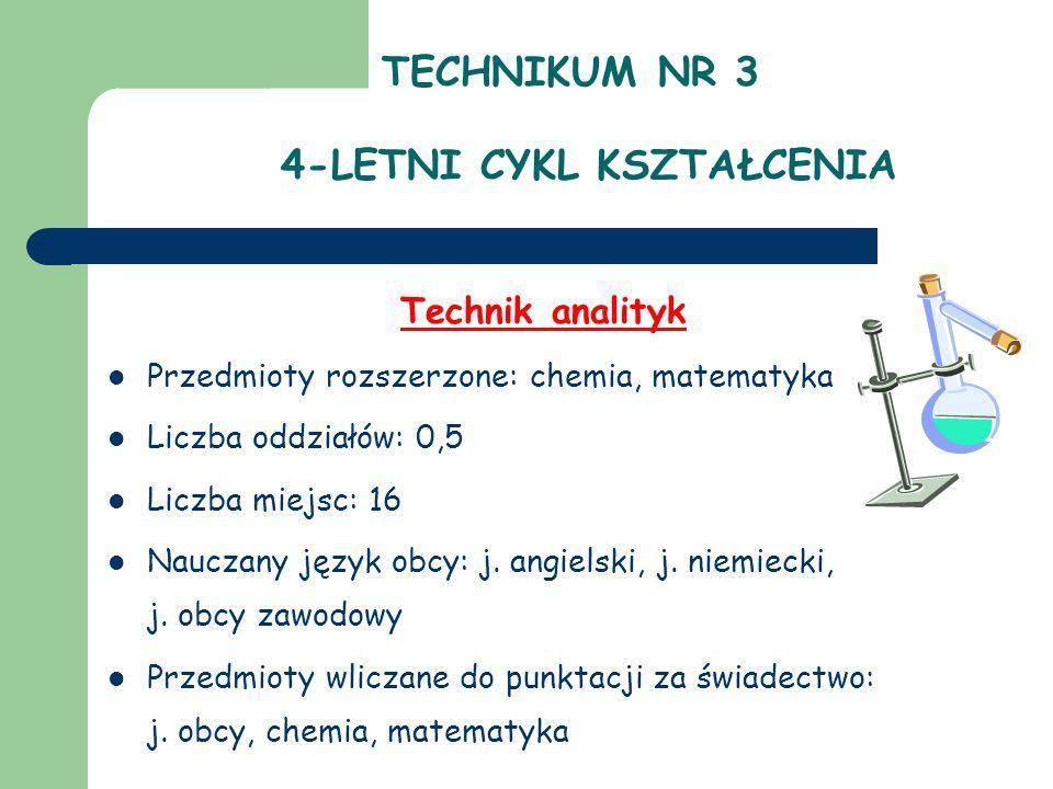 TECHNIKUM NR 3 4-LETNI CYKL KSZTAŁCENIA Technik analityk Przedmioty rozszerzone: chemia, matematyka Liczba oddziałów: 0,5 Liczba miejsc: 16 Nauczany j