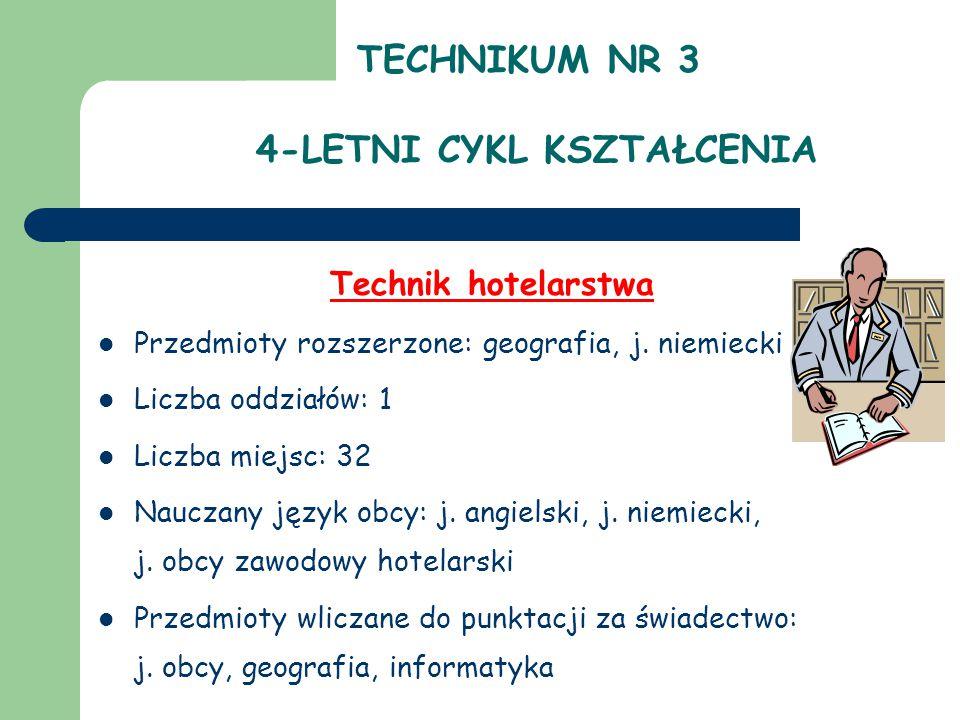 TECHNIKUM NR 3 4-LETNI CYKL KSZTAŁCENIA Technik hotelarstwa Przedmioty rozszerzone: geografia, j. niemiecki Liczba oddziałów: 1 Liczba miejsc: 32 Nauc