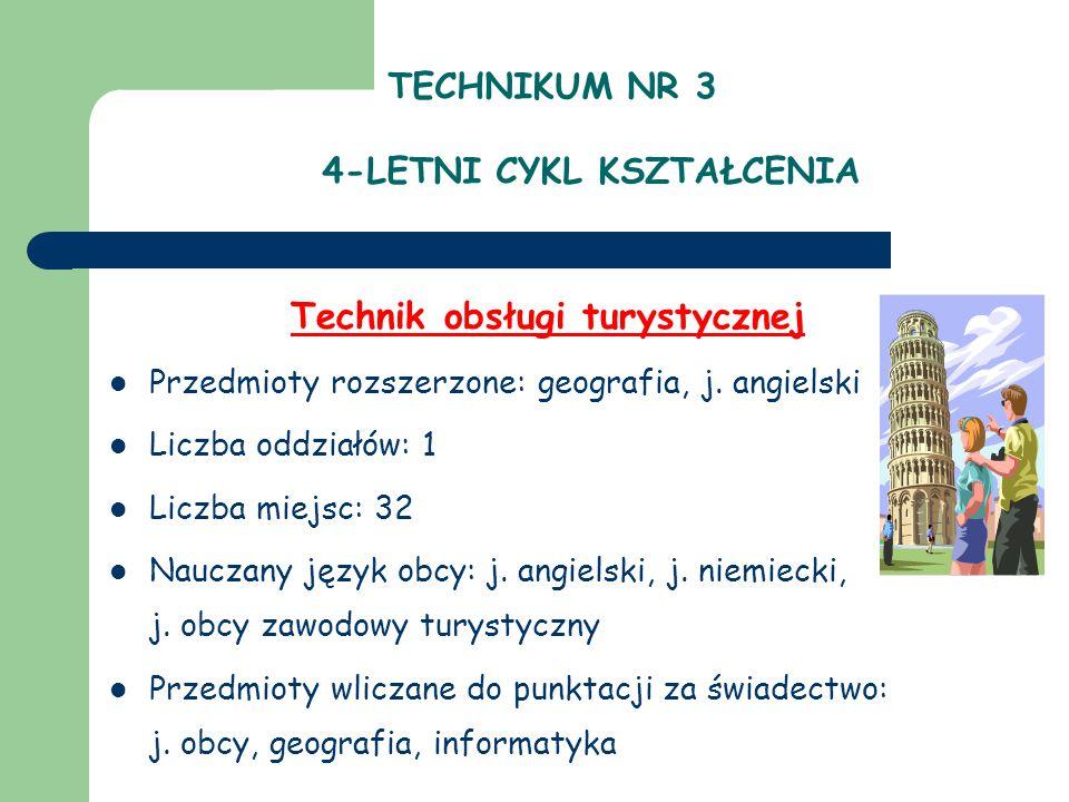 TECHNIKUM NR 3 4-LETNI CYKL KSZTAŁCENIA Technik obsługi turystycznej Przedmioty rozszerzone: geografia, j. angielski Liczba oddziałów: 1 Liczba miejsc
