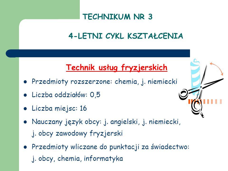 TECHNIKUM NR 3 4-LETNI CYKL KSZTAŁCENIA Technik usług fryzjerskich Przedmioty rozszerzone: chemia, j. niemiecki Liczba oddziałów: 0,5 Liczba miejsc: 1