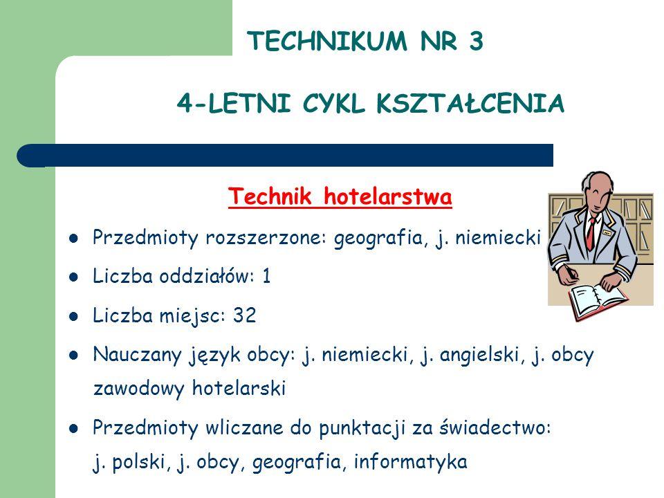TECHNIKUM NR 3 4-LETNI CYKL KSZTAŁCENIA Technik hotelarstwa Przedmioty rozszerzone: geografia, j.