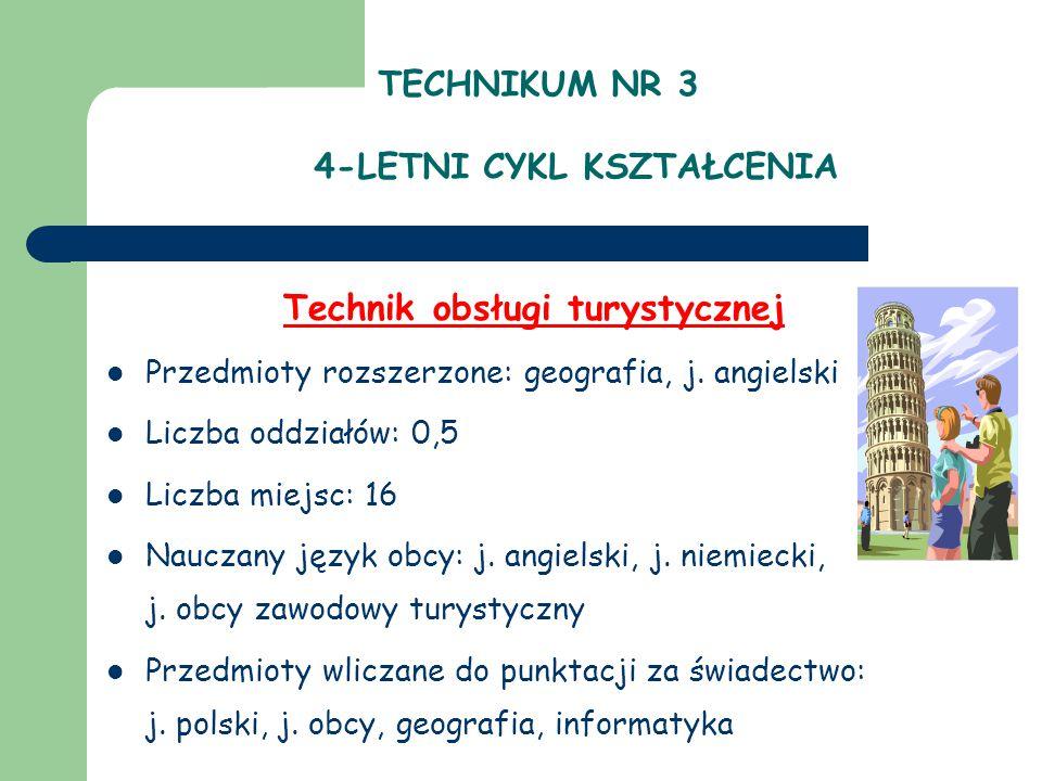 TECHNIKUM NR 3 4-LETNI CYKL KSZTAŁCENIA Technik obsługi turystycznej Przedmioty rozszerzone: geografia, j.