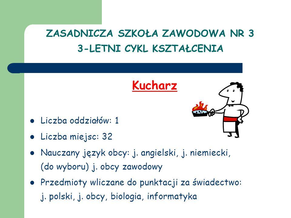 ZASADNICZA SZKOŁA ZAWODOWA NR 3 3-LETNI CYKL KSZTAŁCENIA Kucharz Liczba oddziałów: 1 Liczba miejsc: 32 Nauczany język obcy: j.