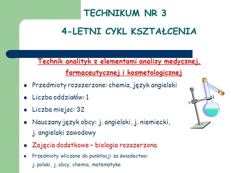 TECHNIKUM NR 3 4-LETNI CYKL KSZTAŁCENIA Technik analityk z elementami analizy medycznej, farmaceutycznej i kosmetologicznej Przedmioty rozszerzone: chemia, język angielski Liczba oddziałów: 1 Liczba miejsc: 32 Nauczany język obcy: j.