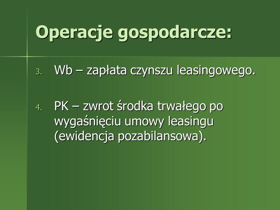 Operacje gospodarcze: 3. Wb – zapłata czynszu leasingowego. 4. PK – zwrot środka trwałego po wygaśnięciu umowy leasingu (ewidencja pozabilansowa).
