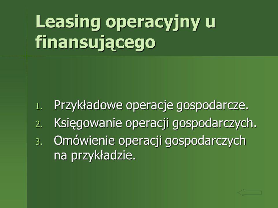 Leasing operacyjny u finansującego 1. Przykładowe operacje gospodarcze. 2. Księgowanie operacji gospodarczych. 3. Omówienie operacji gospodarczych na